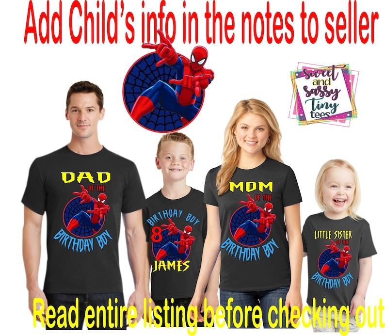 0bd72e6b Spider Man Family Birthday Boy Shirts Name and Age Black   Etsy