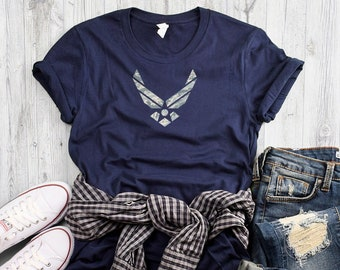 023de1f6 Air Force ABU Camo Emblem Short Sleeve Soft Tee   Personalized Name Option    Milso Girlfriend Wife Fiancee Support