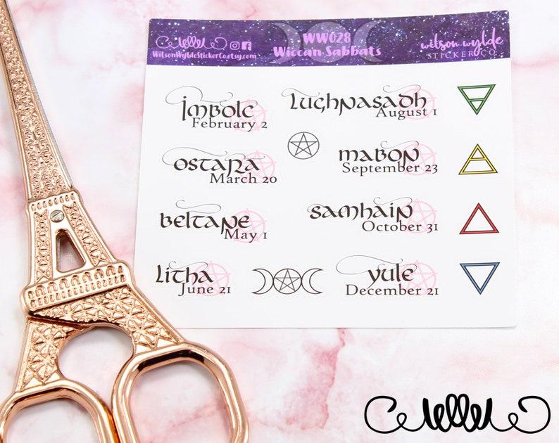 Wiccan Sabbat planner stickers, Pagan Esbat, Imbolc, Ostara, Beltane,  Litha, Lughnasadh, Mabon, Samhain, Yule, for Happy Planner ECLP WW028