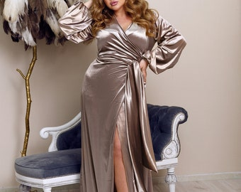 Beige Cappuccino Velvet Wrap Dress Plus Size Bridesmaid Dress