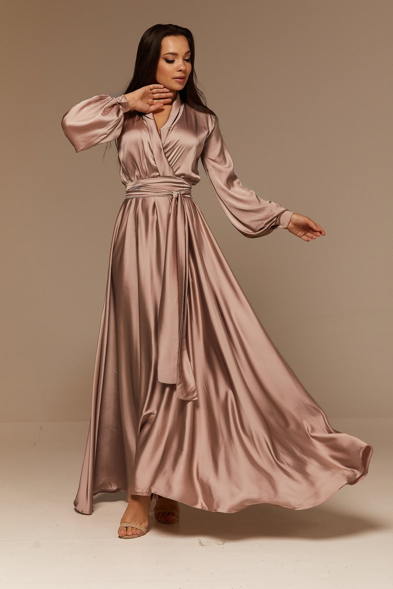 70s Clothes | Hippie Clothes & Outfits Cappuccino Rose Silk Bridesmaid Dress Long Sleeve Silk Flared Dress Maxi Prom Dress $98.00 AT vintagedancer.com