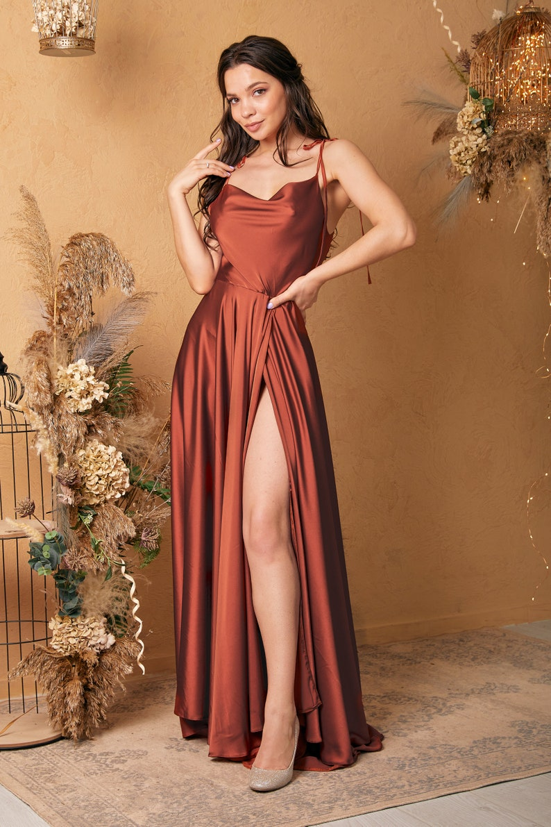 Rust Satin Silk Maxi Flared Dress with Slit Copper Bridesmaid image 2