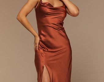 Rust Silk Satin Slip Dress with Slit, Bridesmaid Midi Silk Dress Cowl Neck