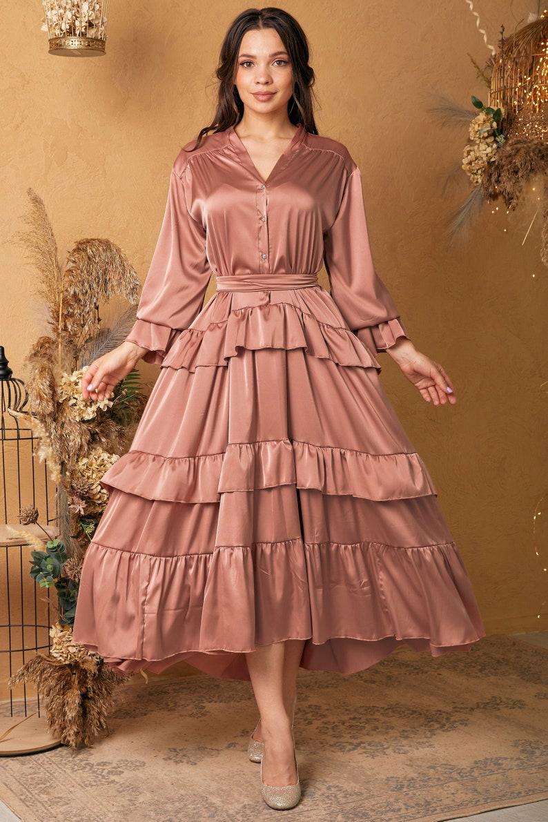 1900 -1910s Edwardian Fashion, Clothing & Costumes Rose Gold Silk Ruffle Dress Long Sleeve Silk Summer Dress Loose Silk Dress $118.00 AT vintagedancer.com