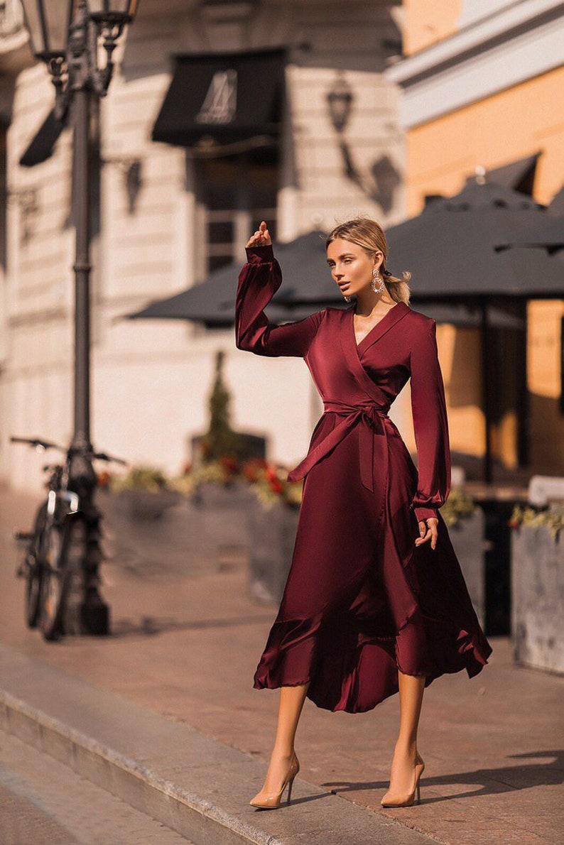 Burgundy Silk Ruffle Wrap Dress Bridesmaid Dress image 0
