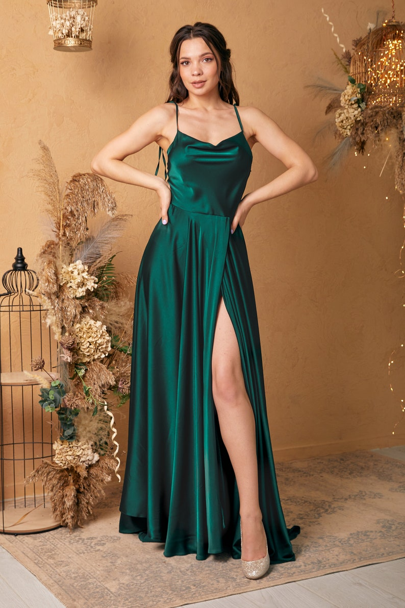 Emerald Green Silk Maxi Flared Dress with Slit Green image 2