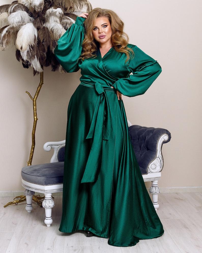 Plus Size Retro Dresses 50s, 60s ,70s, 80s, 90s Emerald Green Silk Maxi Dress Wrap Bridesmaid Dress Plus Size $128.00 AT vintagedancer.com