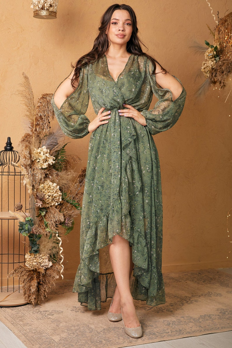 Green Olive Chiffon Floral Ruffle Dress V Neck Summer image 2