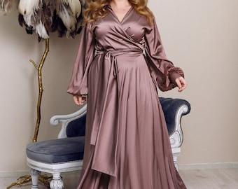 Cappuccino Rose Silk Maxi Wrap Dress Plus Size Bridesmaid Satin Gown