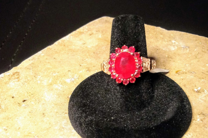 sz African Ruby 7 White Topaz Vermeil RG over Sterling Silver Ring