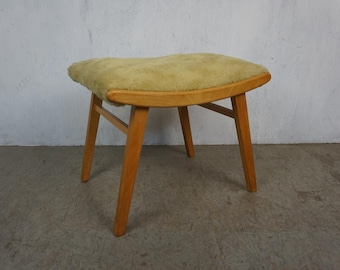 Stool with Flokati cover from the 50s