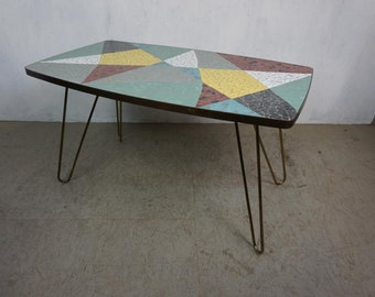 Extravagant Mid Century Coffee Table with Colorful Mosaic Plate and Hairpin Legs