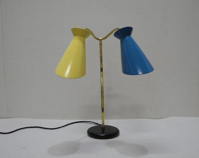 Featured listing image: 50s 60s table lamp Stilnovo Diabolo Bag Lamp Brass Mid Century Lamp Restored