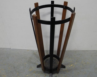 Decorative umbrella stand with solid teak strips