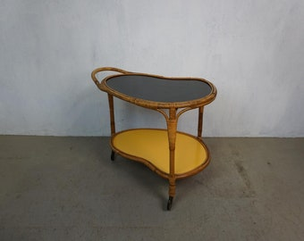 50s 60s Serving Carriage Kidney Table Side Table Bar Carriage Bamboo Tiki Style Rockabilly Vintage Mid Century Resopal