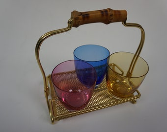 Colorful set of glasses incl frame with bamboo handle of the 50s and 60s Mid Century Vintage Tiki Style