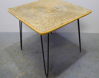 Filigree Rattan Table with Hairpin Legs