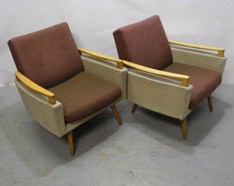 Set of two typical sixties armchairs in a two tone look