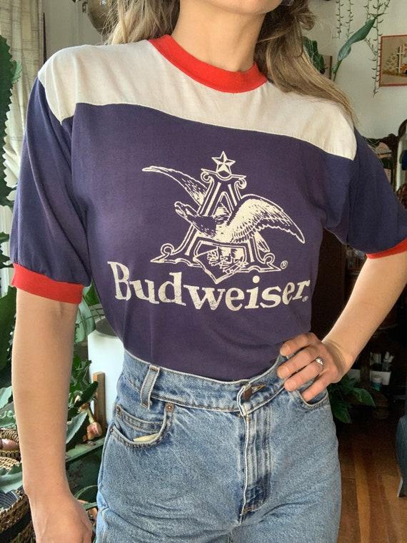 Amazing 70s Rare Budweiser Ringer tee!!