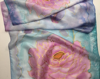 PEONY 100/% PURE SILK SCARF Cream Pink Red Grey Floral Ladies Silk Scarves Gifts
