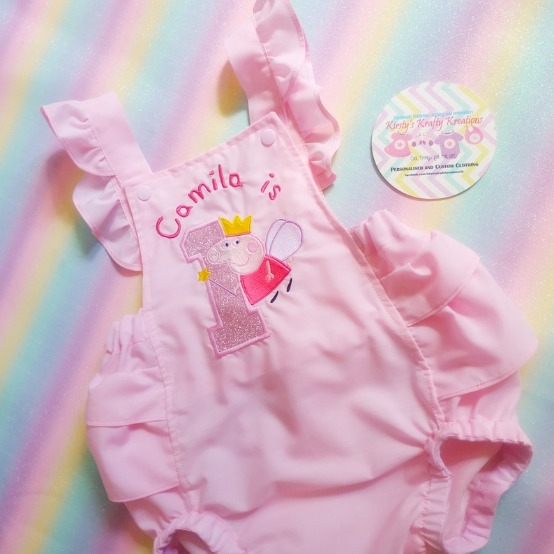 Personalised /& Embroidered Handmade Character Romper Peppa Pig Birthday Romper Perfect 1st Birthday Cake Smash Outfit for photoshoots