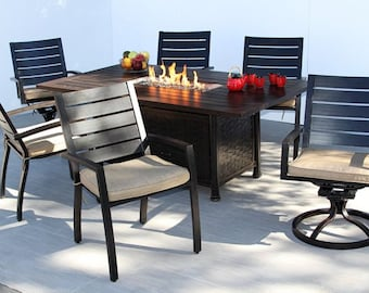 de90b9814cc Quincy Outdoor Patio 7pc Dining Set for 6 Person with 41x72 Rectangle Fire  Table Series 4000
