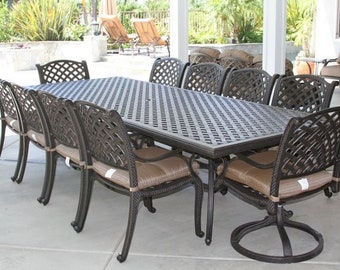 66689b831c4 Nassau 11pc Outdoor Patio Dining set with 46 x 120 table Series 3000 - Antique  Bronze