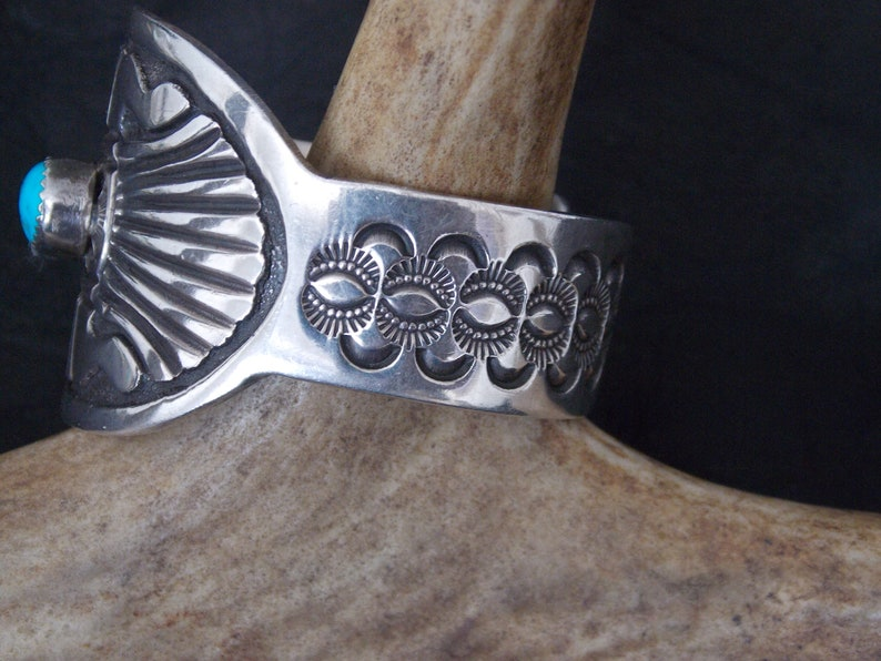 Vintage Navajo Silver and Turquoise Cuff Bracelet Dean Brown Signed DB