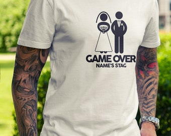 c5407686 GAME OVER Stag T-Shirts Custom Clothing Party Best Man Wedding Groomsmen  Groom Weekend Him T-Shirt Tee Group Friend Sesh Dad Son Funny Joke