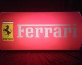 Ferrari Classic Advertising Light Box Illuminated LED Wall Sign Garage Dealership Automobilia Vintage Dealer Car Display