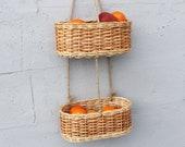 Wicker hanging fruit basket Hanging basket kitchen