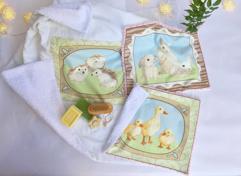 Baby towel set baby cotton double sided towel set cotton etsy