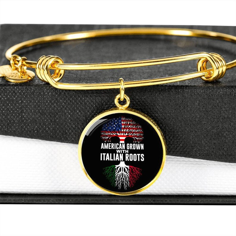 Gold American Grown with Italian Roots with Circle Charm Bangle