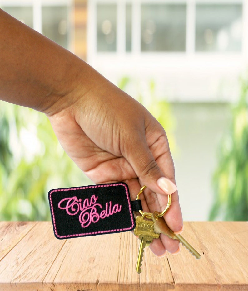 Black with Pink Embroidery Ciao Bella Keychain