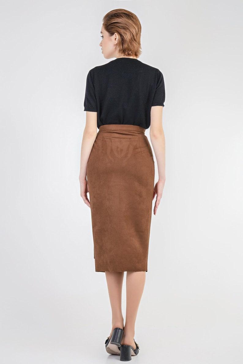 Wrap midi skirt Brick faux suede skirt