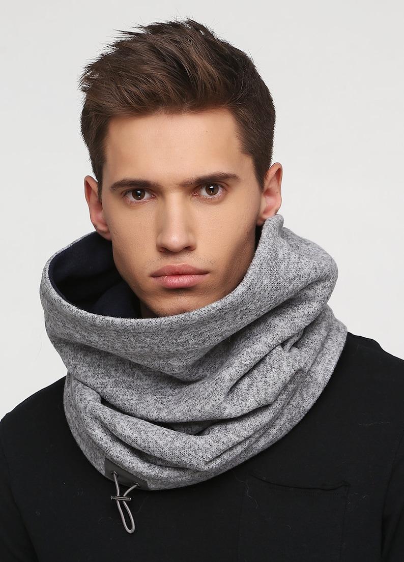 Grey hooded scarf unisex Grey fleece snood Winter hooded scarf