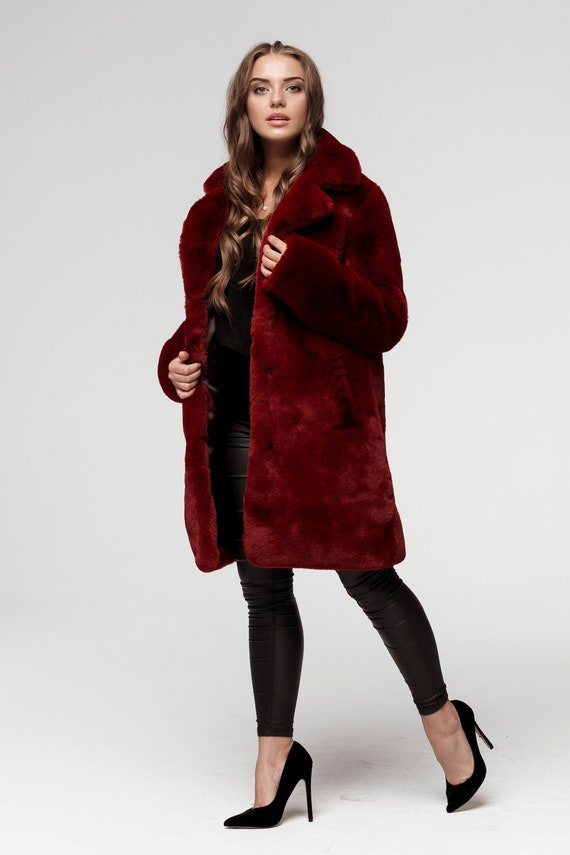 enjoy best price new selection outlet on sale Faux Fur Coat Burgundy with a Classic Collar