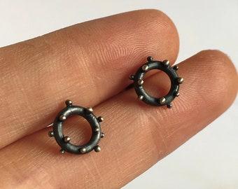 Chunky Blackened Sterling Silver Iota Granulation Adjustable Bangle