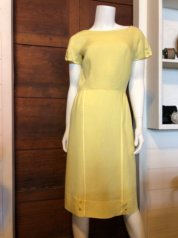 The Clothesline 1950s Yellow Linen Dress