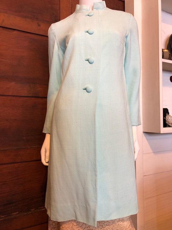 Baby Blue 1960s Mandarin Collar Linen Jacket