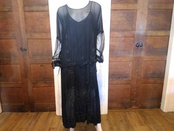 1920s Vintage Black Sheer Beaded Dress