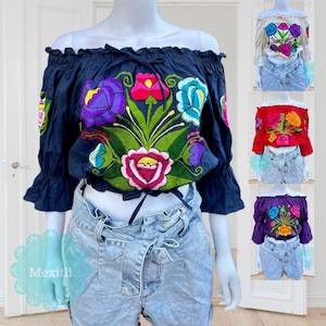 Fiesta Cinco de Mayo Tie Front Off The Shoulder Embroidered Mexican Blouse Mexican Top Chiapas Floral Embroidery