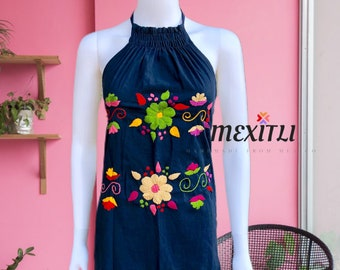 Spring Mexican Floral Embroidery Halter Dress Day of the Dead Hand Embroidered Mexican Dress Fiesta Summer Cinco de Mayo
