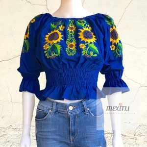 Mariposita blouse embroidered crop top ombliguera mexican blouse