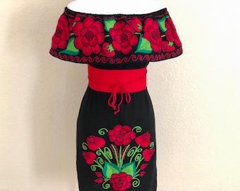 d68fde6e0 Off the shoulder Embroidered Mexican Dress, Vestido Campesina Bordado,  Fiesta Dress