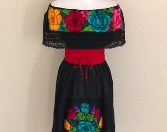 cf450dffc Off the shoulder embroidered Mexican dress, Mexican Peasant Dress, Vestido  Campesina Bordado, Fiesta Dress
