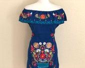 Off the shoulder Embroidered Mexican Tie Back Dress, Vestido Campesina Bordado, Vestido Mexicano, Fiesta Dress, Royal Blue Mexican Dress