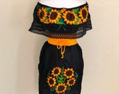 Black Off the shoulder Sunflower Embroidery Mexican dress, Vestido Campesina Bordado, Fiesta Dress, sunflower dress