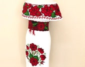 Off the shoulder Mexican Dress, Mexican Embroidered Dress, Mexican Peasant Dresd, Vestido Campesina Bordado, Fiesta Dress, Mexican Dress