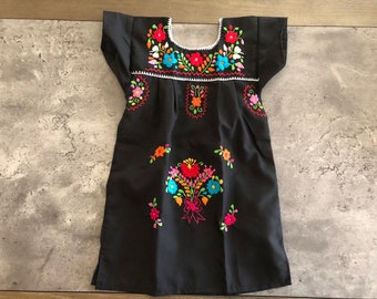 b2055236ca59 2T Girls Hand Embroidered Mexican Dress